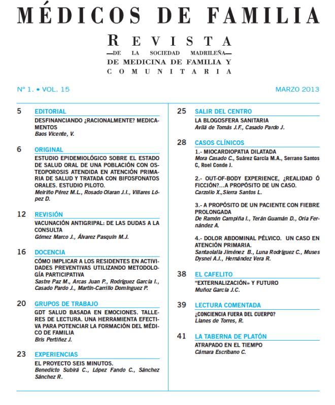 """Nuevo número de la revista """"Médico de Familia"""" – Grupo de Nuevas ..."""