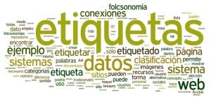 "Nube de etiquetas del artículo ""Etiqueta (metadato)"". AU: ssalonso. http://commons.wikimedia.org/wiki/File:Nube-etiquetas.png"