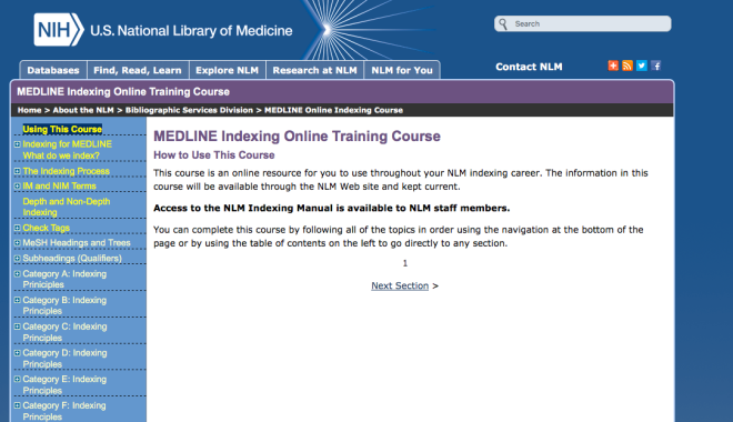Indexing online training course