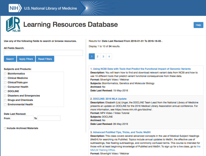 Learning Resources Database NLM