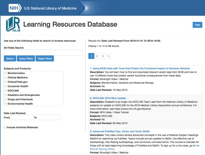 Learning Resources Database NLM