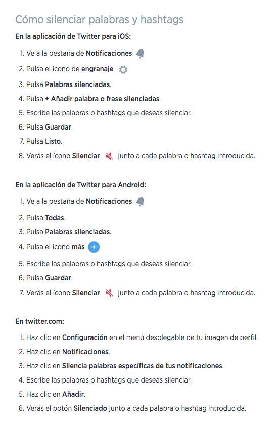 Silenciar en Twitter